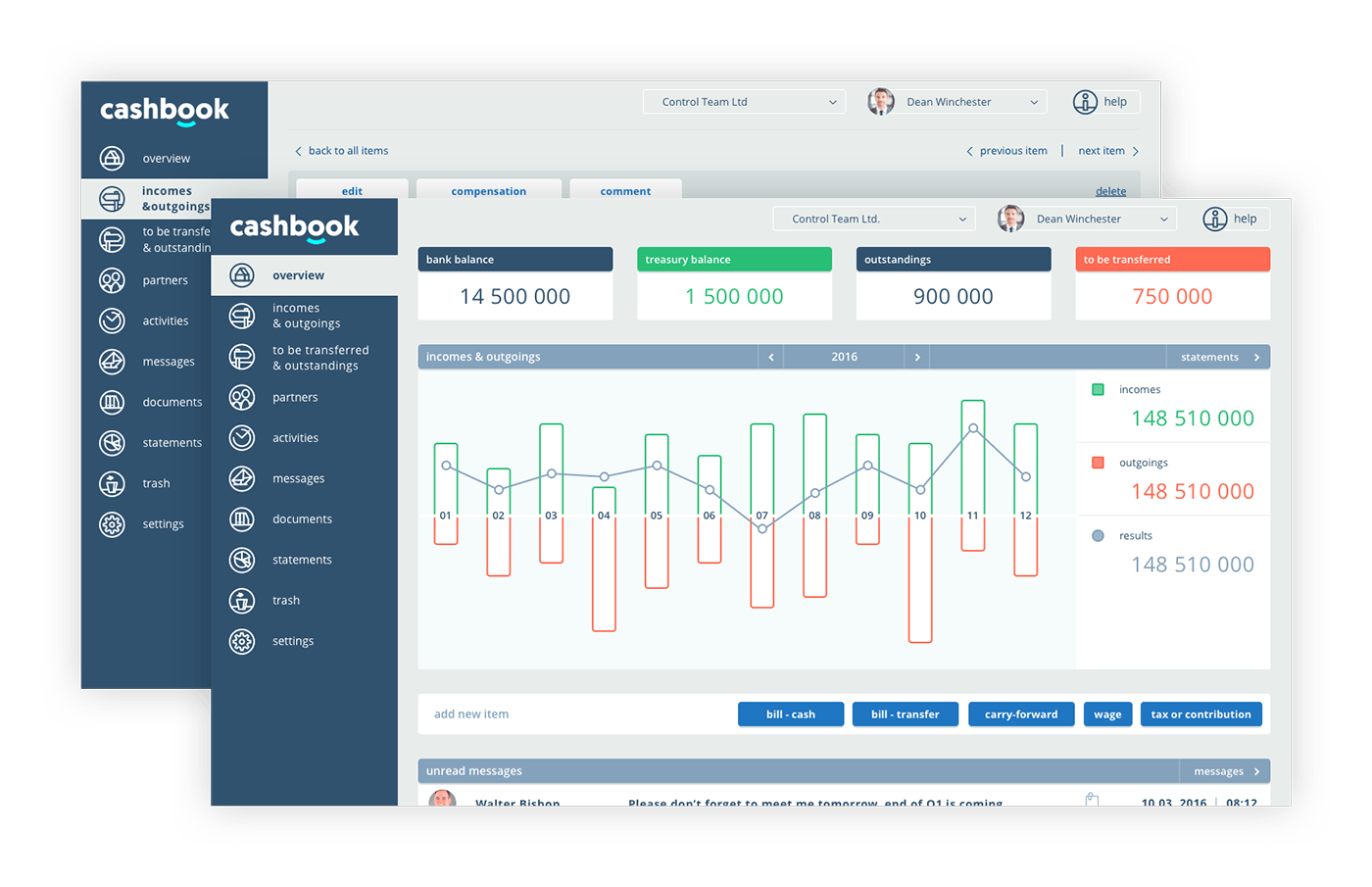 user interface design of Cashbook website